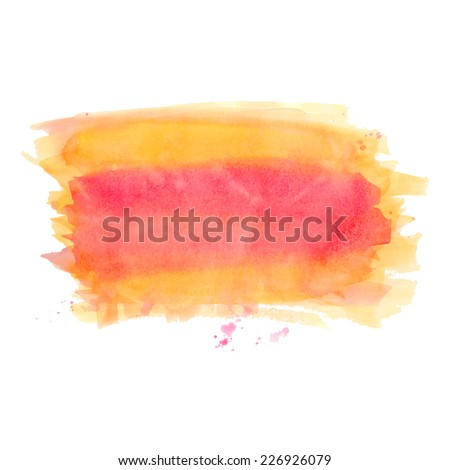 Abstract watercolor art hand drawn isolated on white background. Orange and pink watercolor rectangle spot. Vector illustration. - stock vector