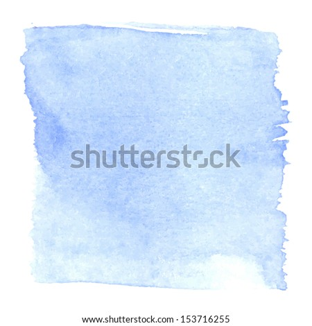 Abstract watercolor art hand paint isolated on white background. Watercolor stains. Square blue watercolour banner   - stock vector