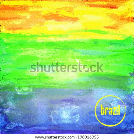 Abstract watercolor background. Brazil 2014 - stock vector