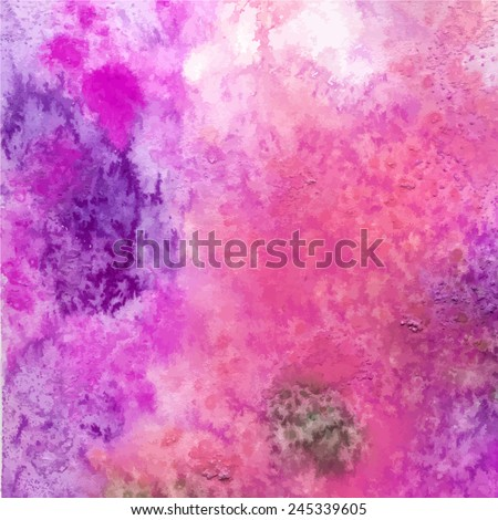 Abstract watercolor background. Painted paper. Bright color splashes in pink, green, purple. Grunge texture - stock vector