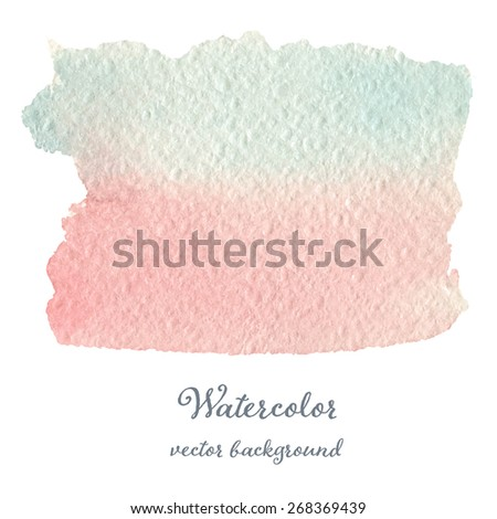 Abstract watercolor blue and pink hand drawn texture, isolated on white background, vector eps10 - stock vector