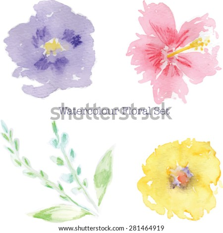 Abstract Watercolor flowers. High resolution image. Includes 3 watercolor flowers, 2 leaves and 2 leaf stems.  - stock vector