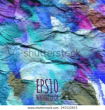 Abstract watercolor gradient colorful background in blue, violet, white and green colors - stock vector