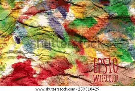 Abstract watercolor gradient colorful background in red, yellow, orange and green colors - stock vector