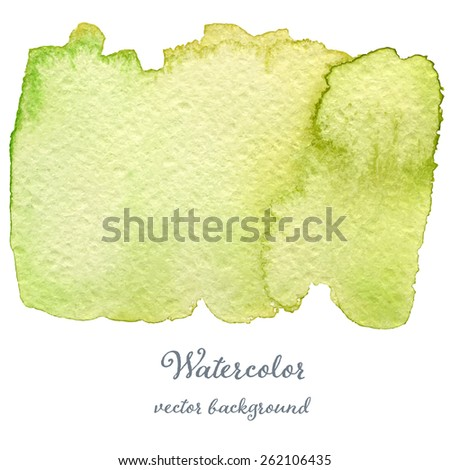 Abstract watercolor green hand drawn texture, isolated on white background, vector eps10 - stock vector