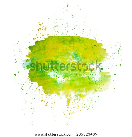 Abstract watercolor green spot with colorful splash. Background, print or element for pattern or other artworks.