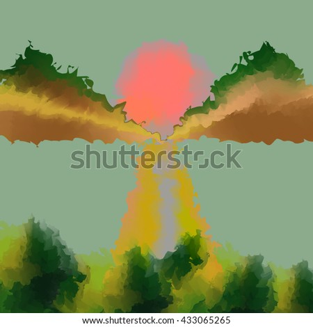 Abstract watercolor hand paint Landscape nature background with mountain,sun,forest - Vector Watercolor Background. Watercolor Vector Background EPS10.