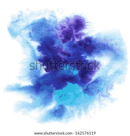 Abstract watercolor hand painted background in blue colors - stock vector