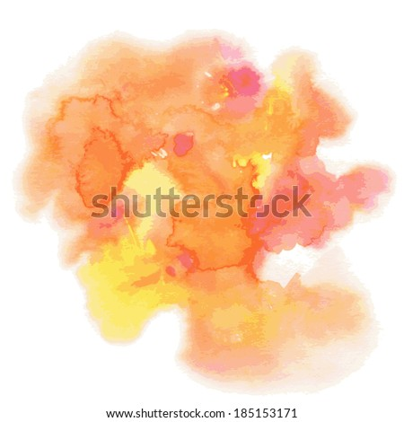 Abstract watercolor hand painted background in orange colors - stock vector