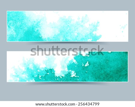 Abstract watercolor horizontal banners for your design - stock vector