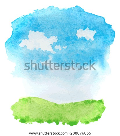 abstract watercolor landscape with grass and clouds. vector - stock vector