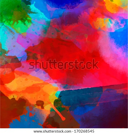 Abstract watercolor palette of  blue colors, mix color, background,vector illustration,a mixture of colors, stains with a spray of water colors, the author's work. - stock vector