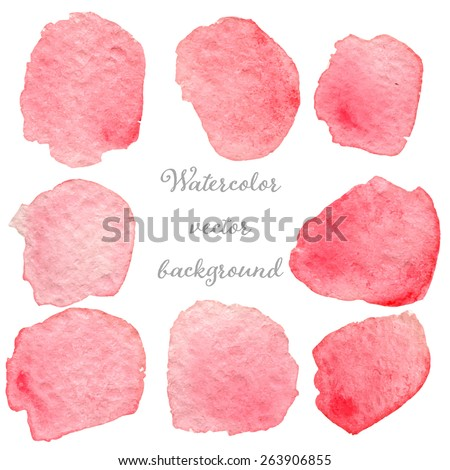 Abstract watercolor pink and rose hand drawn texture set, isolated on white background, vector eps10 - stock vector