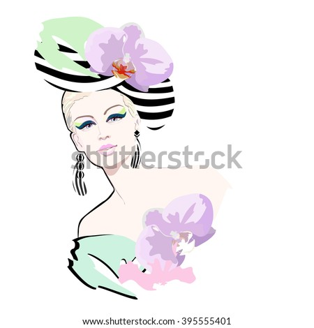 Abstract watercolor portrait of a girl (model) in a striped hat flower (orchid), earrings, makeup, green dress. Logo Fashion and Beauty, trendy stylish texture spring summer, beautiful face - stock vector