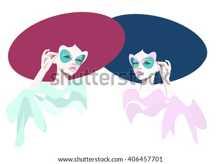 Abstract watercolor portrait of a girl (model) in sunglasses, red and blue hats, pink and green dress. Fashion. Isolated on white - stock vector