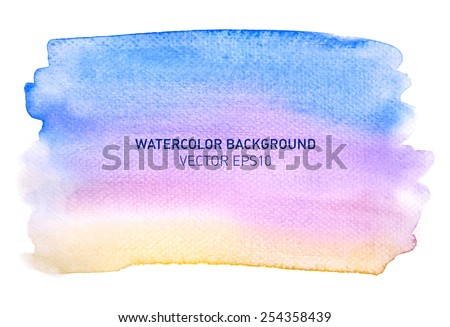Abstract watercolor rainbow gradient background. Hand drawn blue painting on texture paper. Vector illustration. - stock vector
