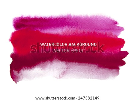 Abstract watercolor rainbow gradient background. Hand drawn red and pink painting on texture paper. Vector illustration. - stock vector