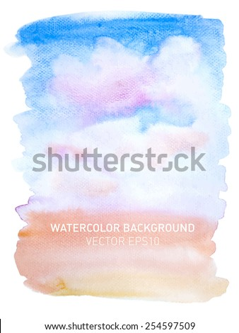 Abstract watercolor rainbow gradient background. Sky with pink clouds. Hand drawn painting on texture paper. Vector illustration. - stock vector