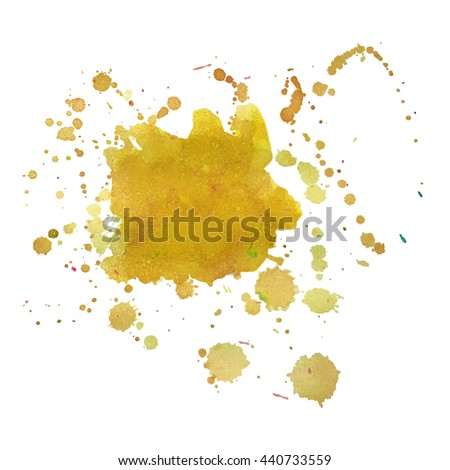 Abstract watercolor stain with splashes and drops of pink yellow color. Design background for banner and flyers - stock vector