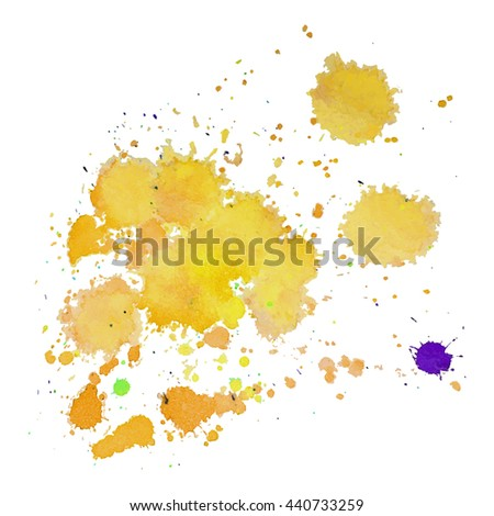 Abstract watercolor stain with splashes and drops of yellow color. Design background for banner and flyers - stock vector