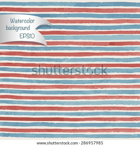 Abstract watercolor vector striped background  - stock vector