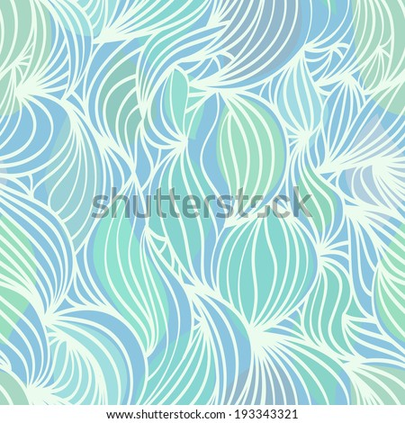 Abstract wave aquamarine and green seamless pattern with blue background