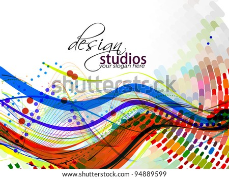 Abstract wave background composition - vector illustration.