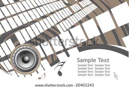 abstract wave background with grunge music note background - stock vector