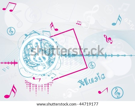 abstract wave background with musical notes, vrcto llustration - stock vector