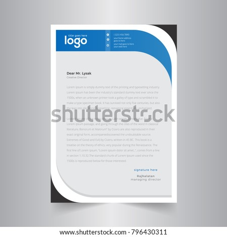 abstract wave business letterhead templateのベクター画像素材