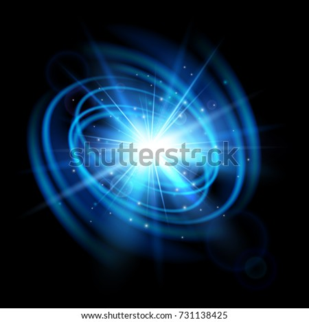 Abstract wave flash. Light effect isolated on black background. Explosion. Magic glow sparkling star.