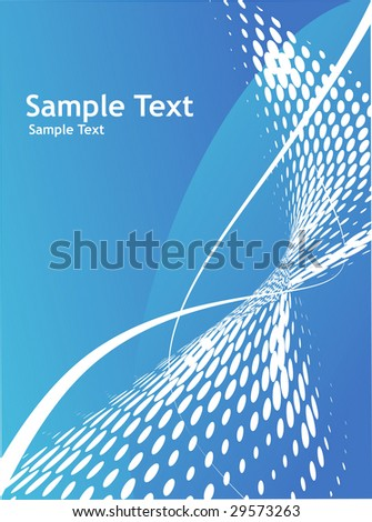 Abstract wave halftone line background with sample text background - stock vector