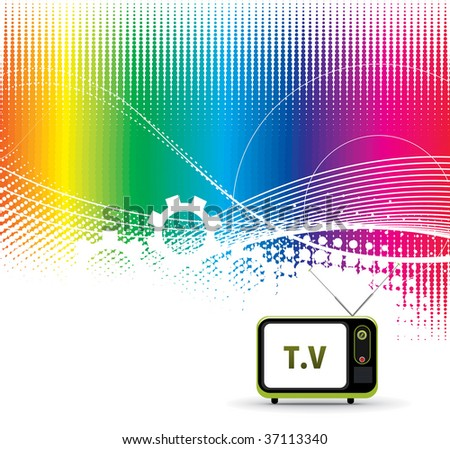 abstract wave  line vector rainbow composition with Retro television. - stock vector