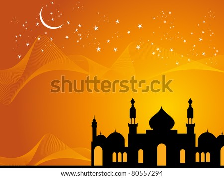 abstract wave, twinkle star background with black mosque