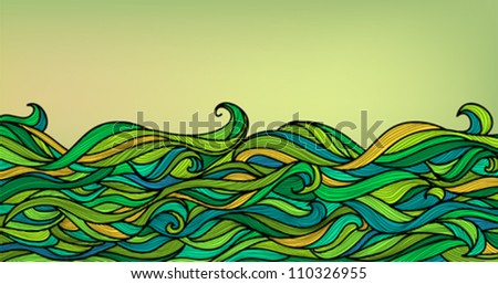 Abstract Waves Background, Vector Blue Green Orange Colorful Hand-drawn Pattern - stock vector