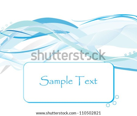 Abstract waves background with blank frame for text - stock vector
