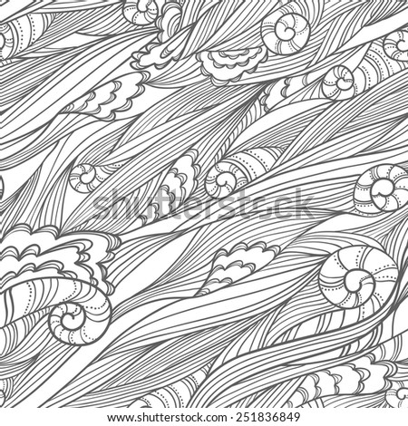 Abstract waves doodle seamless pattern. Black and white version - stock vector
