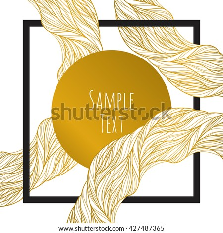 Abstract waves gold background.