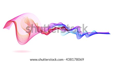 Abstract waves over white, Vector - stock vector