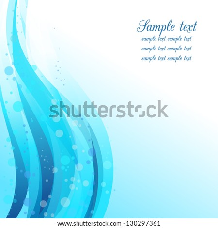 Abstract wavy background with bubbles. Fresh blue.