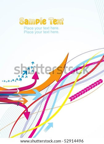 abstract wavy background with colorful arrowhead, vector illustration