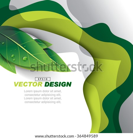 abstract wavy design with wet green leaves nature elements, advertisement background illustration. eps10 vector - stock vector
