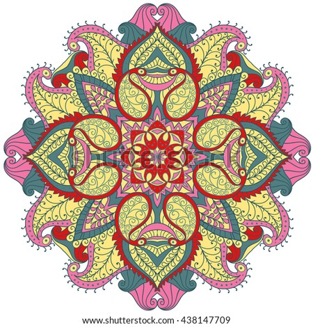 Abstract wavy line vector symmetry ornament. Round pattern, mandala.