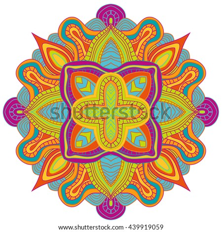 Abstract wavy line vector symmetry ornament. Round pattern, mandala. - stock vector