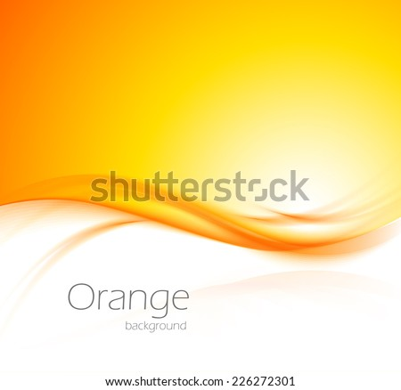 Abstract wavy orange background with light effect - stock vector