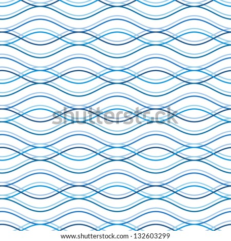 Abstract wavy seamless pattern, vector background - stock vector