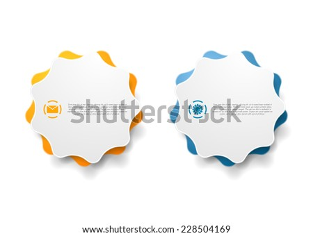 Abstract wavy shape sticker design. Vector background - stock vector