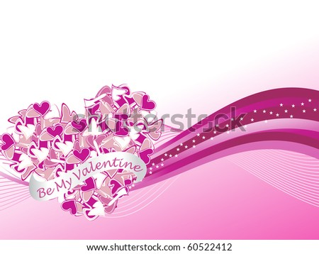 abstract wavy, stripes background with romantic heart