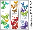 Abstract Web Banners with butterflies. Eps10 .Image contain transparency and various blending modes - stock vector