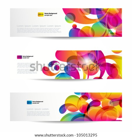 Abstract web banners with colorful arc-drop for your www design - stock vector